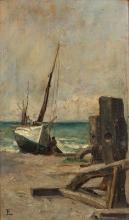 Jean-Paul Laurens Fourquevaux, 1838 - Paris, 1921 Vue présumée d'Yport, Normandie Huile sur panneau