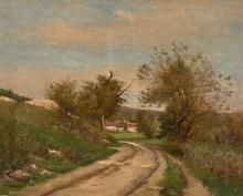 Joseph-Paul Meslé Saint-Servan, 1855 - Chamigny,1927 Chemin menant vers un village Huile sur toile