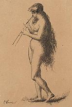 Jean-Jacques Henner Bernwiller,1829 - Paris,1905 Femme jouant de la flûte, étude pour