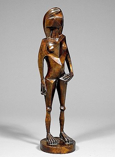 Jacques HEROLD (1910-1987) NU DEBOUT, 1945 Sculpture en bronze à patine brune