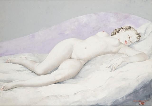 Micao KONO (1900-1979) NU ENDORMIE, 1974 Huile sur toile