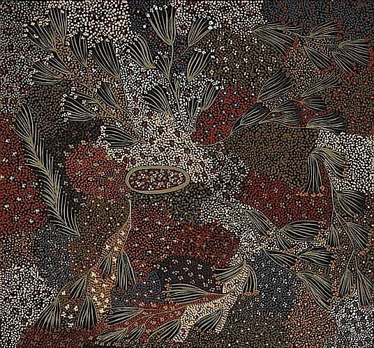 ¤Napangardi EUNICE (Warlpiri) (Circa 1940 - 2005) BUSH BANANA DREAMING, 1990 Acrylic on belgian linen