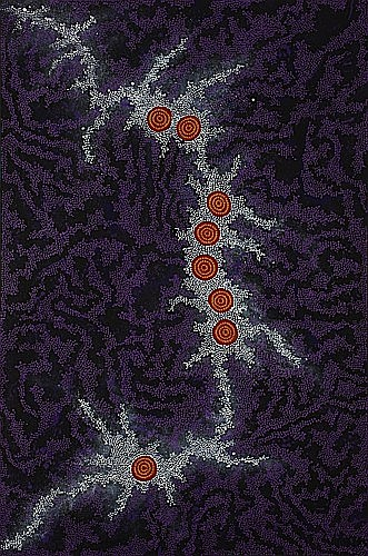 ¤Nungurrayi Gabriella POSSUM (Luritja / Anmatyerre ) (Born 1967) SEVEN SISTERS DREAMING, 2007 Acrylic on pre-primed line