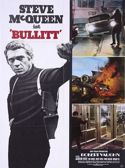 bullitt affiche allemande du film avec steve mcqueen et jacq. Black Bedroom Furniture Sets. Home Design Ideas
