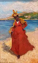 Charles LAVAL 1862 - 1894 L'ANSE DU CARBET, MARTINIQUAISE A LA ROBE ROUGE - JUIN 1893 Cire sur carton