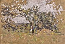 Ker-Xavier ROUSSEL 1867 - 1944) ETANG-LA-VILLE, PRAIRIE, MEULES ET ARBRE Huile sur toile
