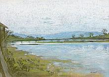 Pierre ROUSSEL 1927 - 1995 BORD DE RIVIERE, PAYSAGE DU JAPON, 1956 Pastel sur carton