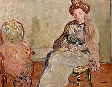 Louis VALTAT 1869 - 1952 SUZANNE VALTAT ASSISE - 1902 Huile sur carton