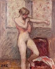 Georges d'ESPAGNAT 1870 - 1950 FEMME A LA CHEMISE ROSE Huile sur toile