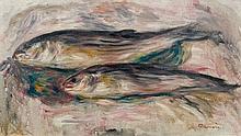 Pierre-Auguste RENOIR 1841 - 1919 NATURE MORTE AUX POISSONS - 1916 Huile sur toile