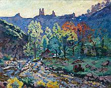 Armand GUILLAUMIN 1841 - 1927 LE MOULIN BRIGAND ET LES RUINES DU CHATEAU DE CROZANT (DERNIERS JOURS DE MAI) - 1908 Huile sur toile