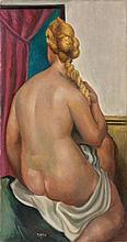 Roger BISSIERE 1886 - 1964 NU DE DOS TENANT SA NATTE (NU ASSIS) - 1921 Huile sur toile