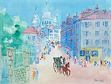 Jean DUFY 1888 - 1964 MONTMARTRE, RUE NORVINS - Circa 1950 Aquarelle et gouache sur papier