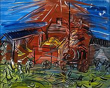 Raoul DUFY 1877 - 1953 DEPIQUAGE ROUGE - 1945 Huile sur toile
