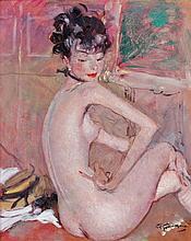 Jean-Gabriel DOMERGUE 1889 - 1962 NU ASSIS - Circa 1948 Huile sur panneau d'isorel