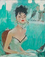 Jean-Gabriel DOMERGUE 1889 - 1962 IDA AU BAR - Circa 1960 Huile sur panneau d'isorel