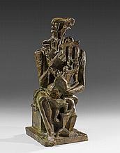 Ossip ZADKINE 1890 - 1967 PERSONNAGE MYTHOLOGIQUE OU LE SCULPTEUR - 1941 Bronze à patine verte