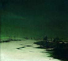 Valérius DE SAEDELEER 1867 - 1941 PAYSAGE D'HIVER Huile sur toile