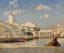 Albert LEBOURG (1849 - 1928) ALGER, L'AMIRAUTE Huile sur toile