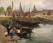 Henri BARNOIN (1882 - 1935) RETOUR DE PÊCHE Huile sur panneau