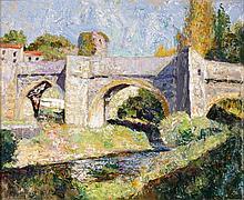 Victor CHARRETON (1864 - 1936) LE PONT SUR LA RIVIERE Huile sur toile