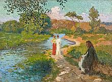 Maurice CHABAS (1862 - 1947) PROMENADE EN BORD DE RIVIERE Huile sur toile