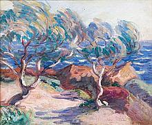 Armand GUILLAUMIN (1841- 1927) LE TRAYAS, PAYSAGE DU MIDI - Circa 1902 Huile sur toile