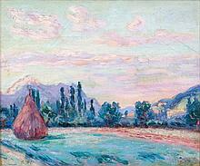 Armand GUILLAUMIN (1841 - 1927) PONTCHARRA, PLAINE DE L'ISERE - Circa 1901 Huile sur toile