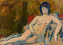Léon BONHOMME (1870 - 1924) PERSONNAGE ALLONGE - 1910 Huile sur papier marouflé sur toile