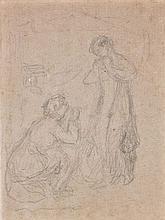 Pierre-Auguste RENOIR (1841 - 1919) ETUDE POUR SUJET MYTHOLOGIQUE Crayon sur papier