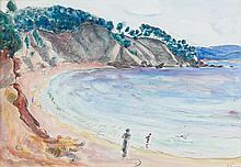 Henri LEBASQUE (1865 -1937) LA CRIQUE - Circa 1925 Aquarelle et crayon gras sur papier