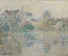 Gustave LOISEAU (1865 - 1935) VUE DE MORET-SUR-LOING, BRUME - Circa 1934-1935 Huile sur toile