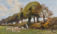 Maximilien LUCE (1858 - 1941) LA BERGERE Huile sur carton