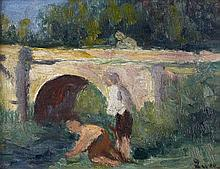 Maximilien LUCE (1858 - 1941) LES LAVANDIERES Huile sur panneau