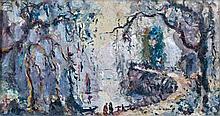 Emmanuel de LA VILLEON (1858 - 1944) CHATEAU BRETON - CHEMIN - PAYSAGE - PAYSAGE Ensemble de quatre oeuvres au crayon et à l'aquarel..