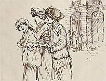 Théophile Alexandre STEINLEN (1859 - 1923) TROIS FEMMES Encre sur papier