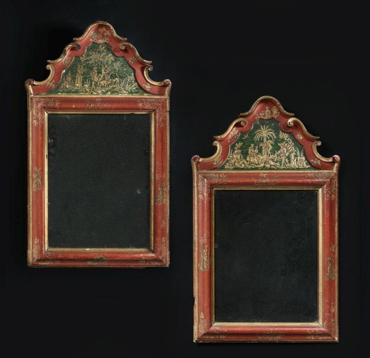 Paire de miroirs d 39 poque baroque for Miroir argent baroque