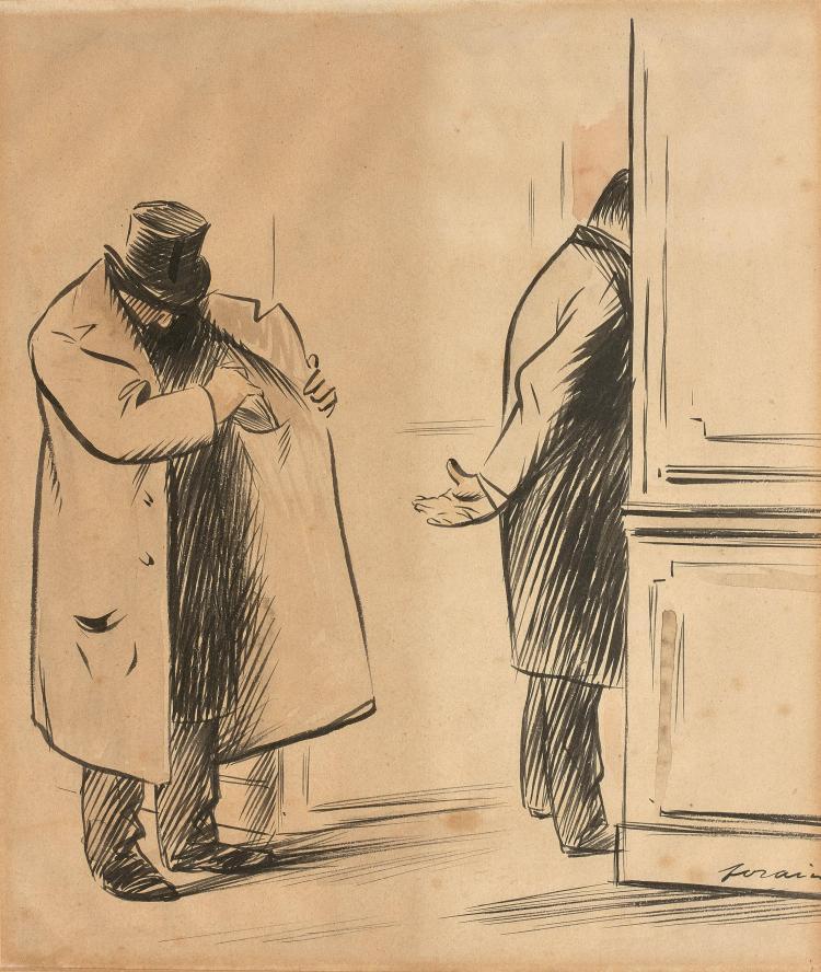 jean louis forain 1852 1931 le pot de vin encre et aquarel. Black Bedroom Furniture Sets. Home Design Ideas