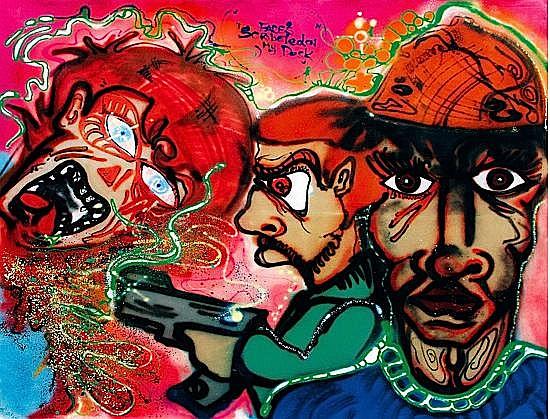 A-ONE (Anthony Clark dit) (1964 - 2001) FACES SCRIBBLEDON MY DESK, 1983 Peinture aérosol sur toile