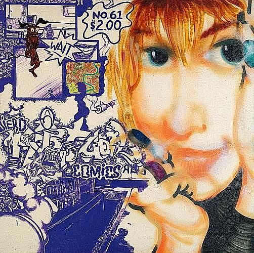 DAZE (Chris Ellis Daze dit) (né en 1962) PORTRAIT OF HEIDI, 1990 Peinture aérosol, acrylique et collages sur toile