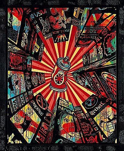 SPEEDY GRAPHITO (né en 1961 -) HOME STREET HOME, 2008 Acrylique et poska sur toile