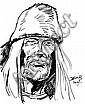 DERIB (Claude de Ribaupierre dit) BUDDY LONGWAY Mine de plomb et feutre noir pour une illustration représentant le visage de Bud..., Richard