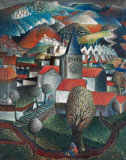 Aristide CAILLAUD (1902-1990) VILLAGE AU CLOCHER Huile sur toile