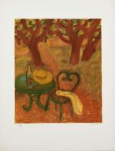 """Maurice SAVIN (1894-1973) La table de jardin Estampe, signée et numérotée """"65/100"""""""