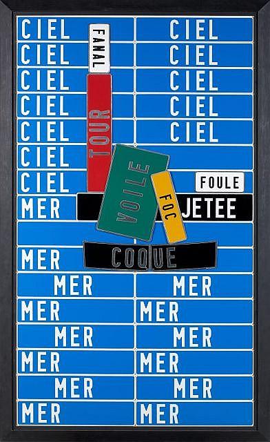 Joël DUCORROY (Né en 1955) L'ARRIVEE AU PORT, 1990 Collage de plaques minéralogiques