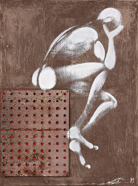 Jérôme MESNAGER (né en 1961) HOMMAGE A ANDRE COLOMER, janvier 1989 Technique mixte et tôle rouillée sur toile