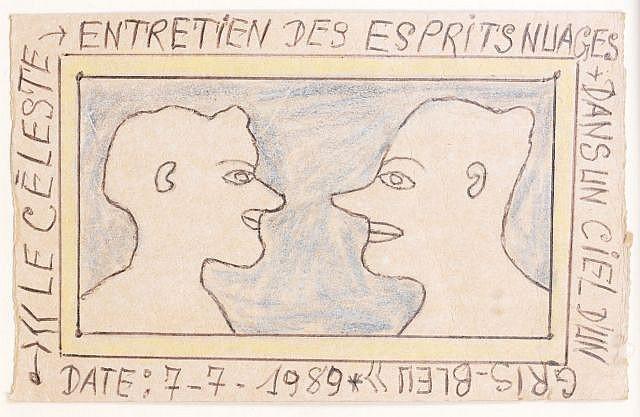 Frederic Bruly BOUABRE (Né en 1923 en Côte d'Ivoire) LE CELESTE ENTRETIEN DES ESPRITS NUAGES DANS UN CIEL D'UN GRIS-BLEU, 7-7-1989 D.