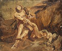 Attribué à Xavier Sigalon Uzès, 1787 - Rome, 1837 Cain et Abel Huile sur papier marouflé sur panneau