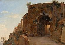 Louise-Joséphine Sarazin de Belmont Versailles, 1790 - Paris, 1870 Vue de la Porta all'Arco à Volterra Huile sur toile marouflée sur..