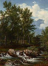André Giroux Paris, 1801 - 1879 Paysage du Dauphiné Huile sur papier marouflé sur panneau,